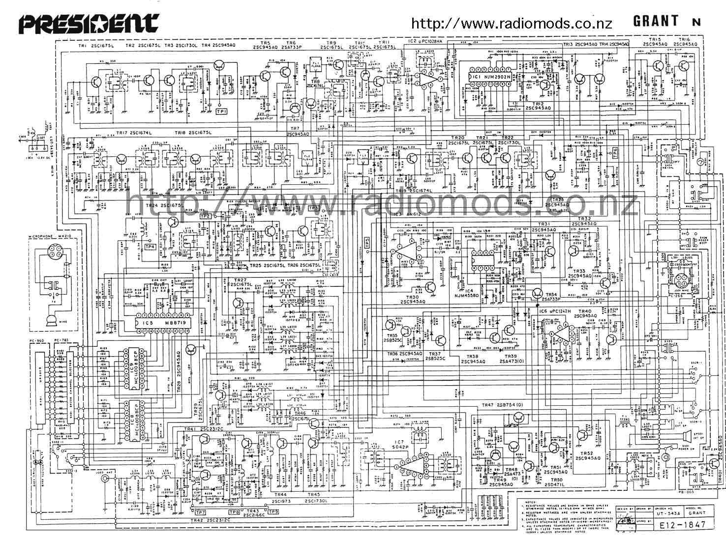 Go To the Uniden/President Grant (PC999) Circuit Diagram page